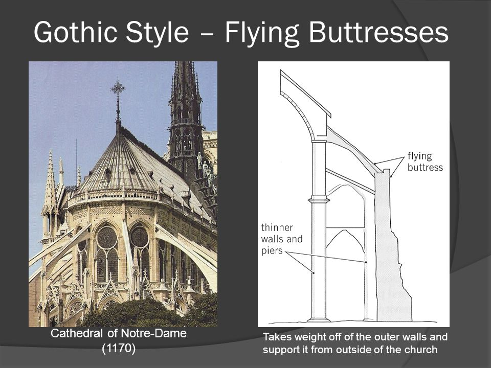 Gothic Style – Flying Buttresses Cathedral of Notre-Dame (1170) Takes weight off of the outer walls and support it from outside of the church