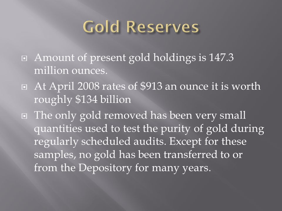  Amount of present gold holdings is 147.3 million ounces.