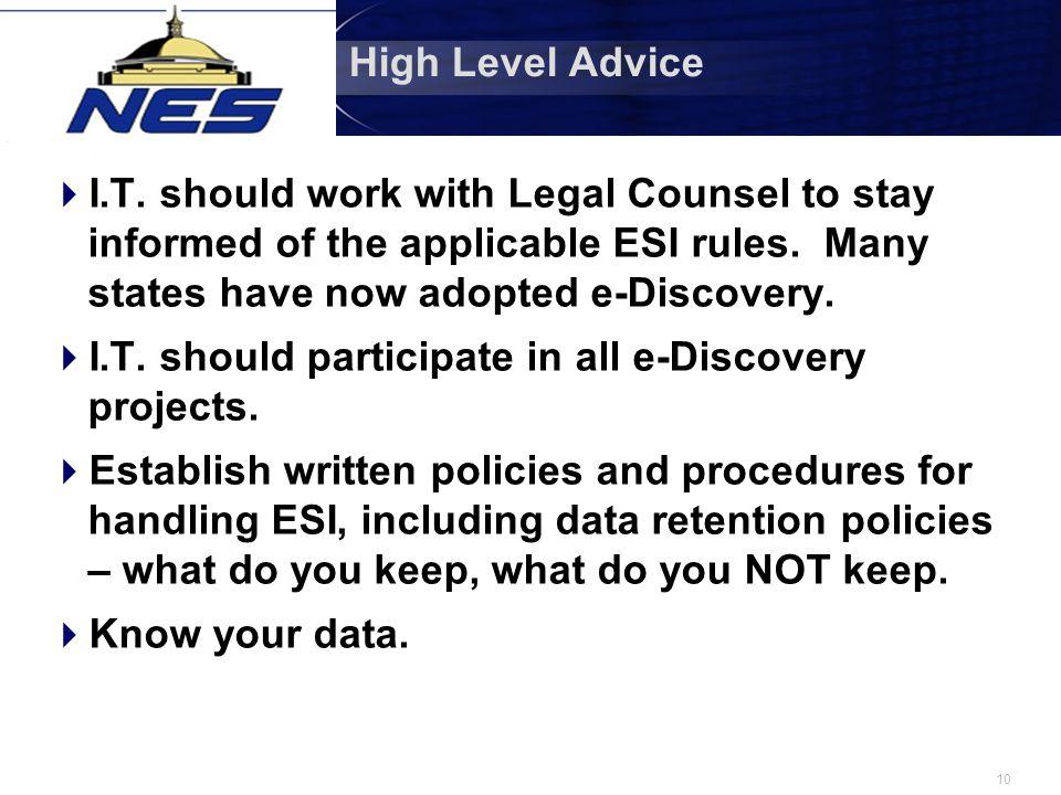 10 High Level Advice  I.T.