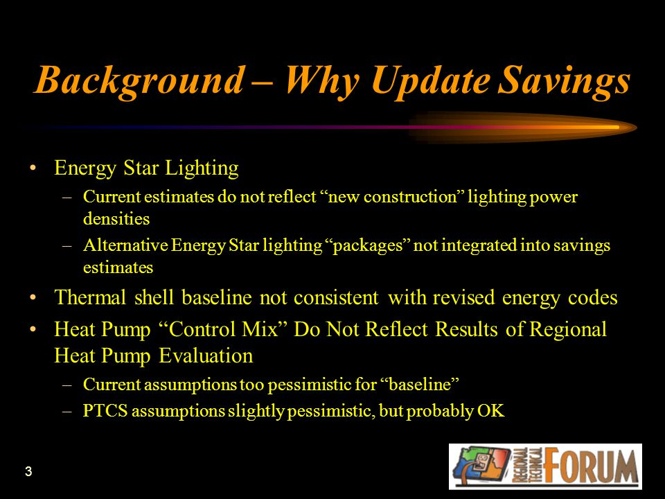 3 Background – Why Update Savings Energy Star Lighting –Current estimates do not reflect new construction lighting power densities –Alternative Energy Star lighting packages not integrated into savings estimates Thermal shell baseline not consistent with revised energy codes Heat Pump Control Mix Do Not Reflect Results of Regional Heat Pump Evaluation –Current assumptions too pessimistic for baseline –PTCS assumptions slightly pessimistic, but probably OK