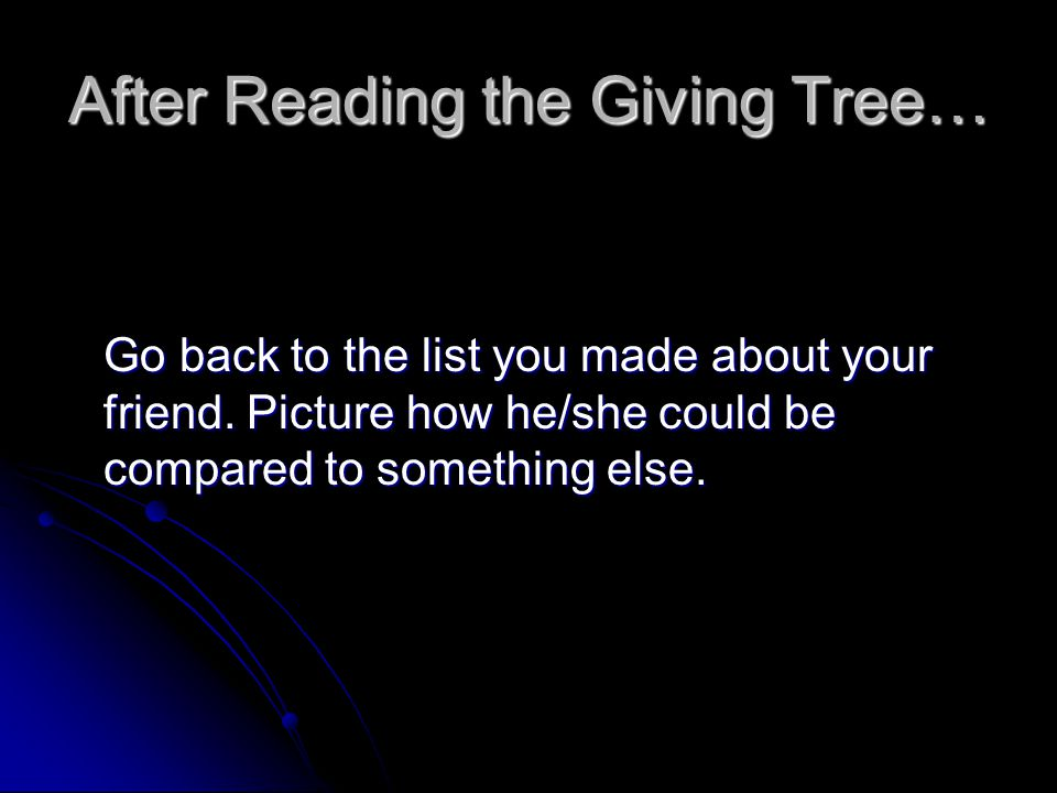 After Reading the Giving Tree… Go back to the list you made about your friend.