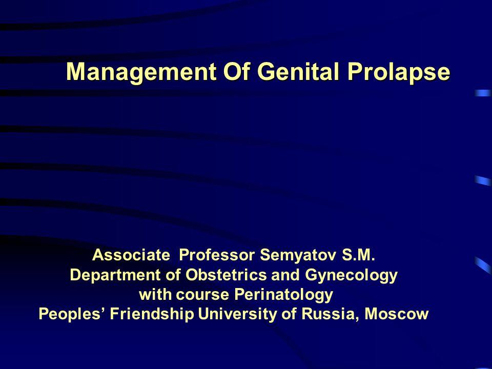 LAPAROSCOPIC SURGERY PROLAPSE PROCEDURES:- –Cervicopexy / Sling operations with/without Lap.Paravaginal repair / Vaginal repair –VH / LAVH / LH / TLH + Colposuspension –VH / LAVH /LH/TLH+ Lap.Pelvic reconstruction –Rectocele repair & levatorplasty –Enterocele repair with suturing of uterosacral ligaments –Colpopexy- Ant / Post