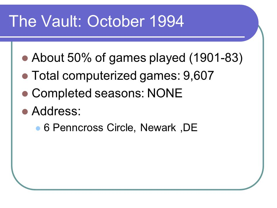 The Vault: October 1994 About 50% of games played (1901-83) Total computerized games: 9,607 Completed seasons: NONE Address: 6 Penncross Circle, Newark,DE