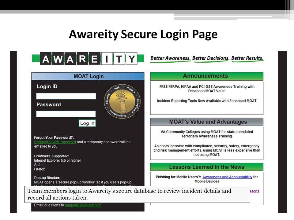 Awareity Secure Login Page Team members login to Awareity's secure database to review incident details and record all actions taken.