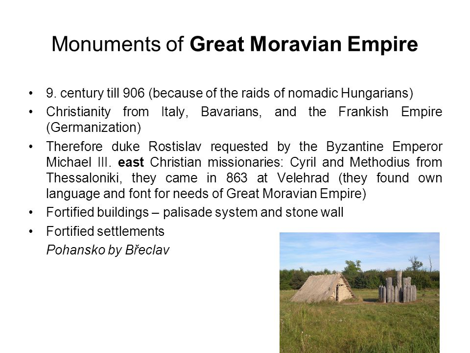 Monuments of Great Moravian Empire 9.
