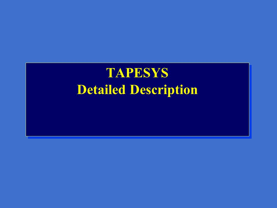 TAPESYS Librarian Support Features Picking list creation for free volumes Reports produced automatically (print and/or mail) External label printing Volume supply forecasting Vault management - reporting, picking, moving Slot management - where on shelves do tapes go.