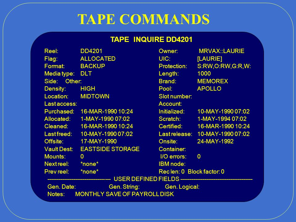 VAXA VAXB VAXC * HSC PRI DB RQ SETUP.PAR ALL TAPESYS FILES SHARED DISK SETUP.PAR VAXD RQ VAXE SEC DB RQ TAPESYS SYSTEM CONFIGURATION