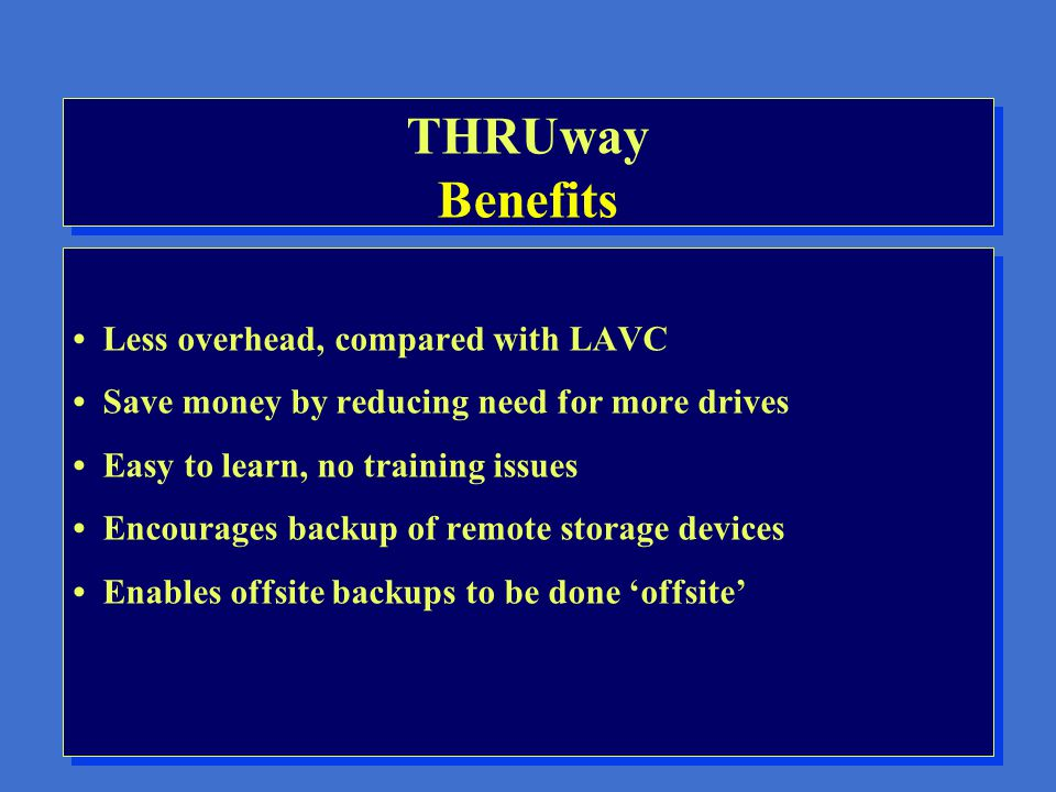 THRUway Features Access to remote tape drives Access to remote disk drives Access to remote printers Interface with TAPESYS Interface with HIERARCHY Access to remote tape drives Access to remote disk drives Access to remote printers Interface with TAPESYS Interface with HIERARCHY
