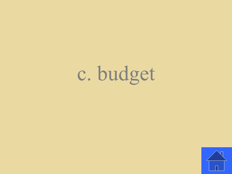 The best way to make the most out of your money is to create a _________. a. Work chart b. Loan c. Budget