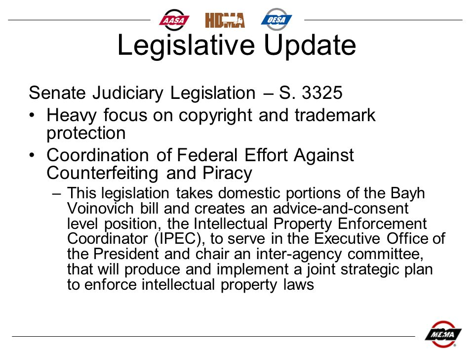 12 Legislative Update Senate Judiciary Legislation – S. 3325 Heavy focus on copyright and trademark protection Coordination of Federal Effort Against