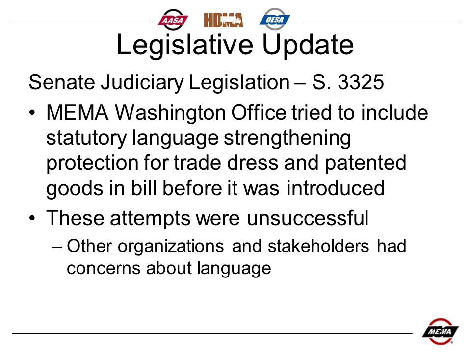 15 Legislative Update Senate Judiciary Legislation – S.