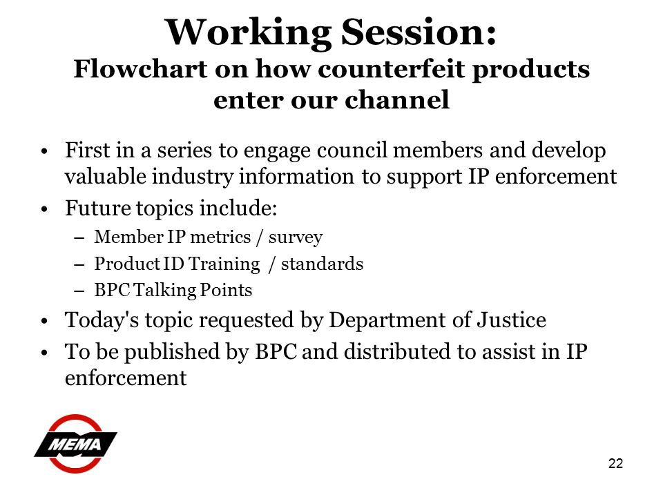 22 Working Session: Flowchart on how counterfeit products enter our channel First in a series to engage council members and develop valuable industry information to support IP enforcement Future topics include: –Member IP metrics / survey –Product ID Training / standards –BPC Talking Points Today s topic requested by Department of Justice To be published by BPC and distributed to assist in IP enforcement
