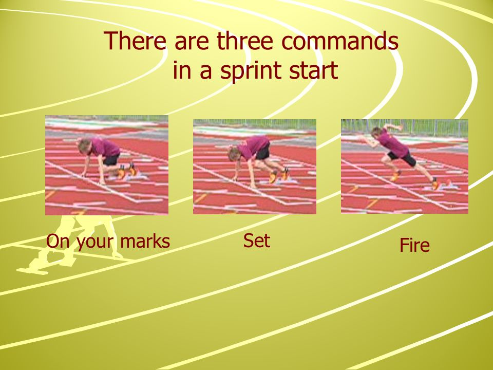 There are three commands in a sprint start On your marks Set Fire