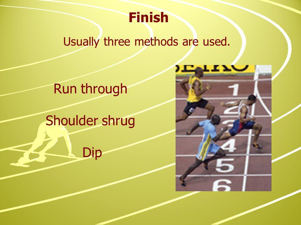 Finish Run through Shoulder shrug Dip Usually three methods are used.