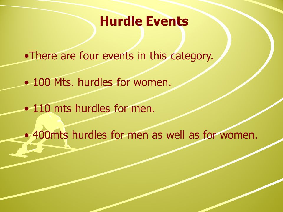 Hurdle Events There are four events in this category.