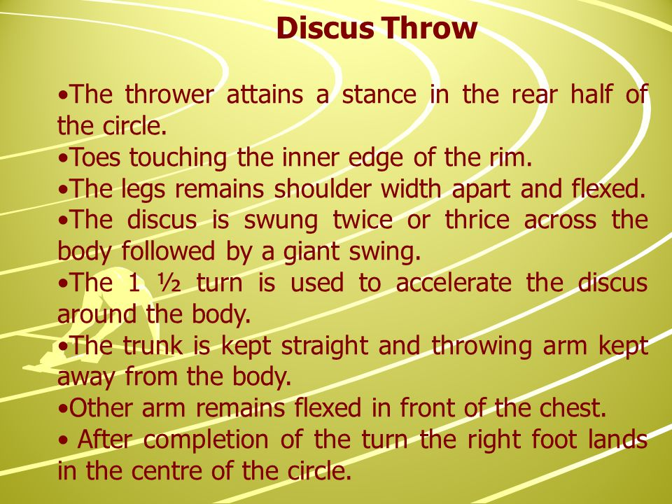 The thrower attains a stance in the rear half of the circle.