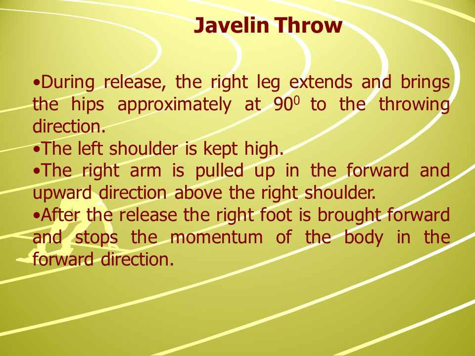 During release, the right leg extends and brings the hips approximately at 90 0 to the throwing direction.
