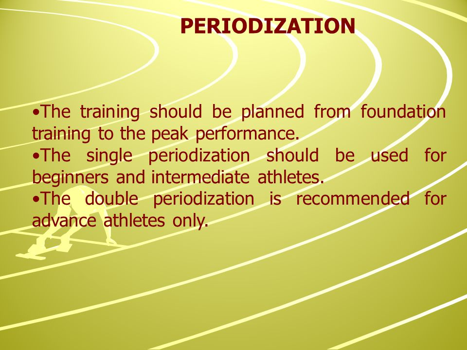 The training should be planned from foundation training to the peak performance.