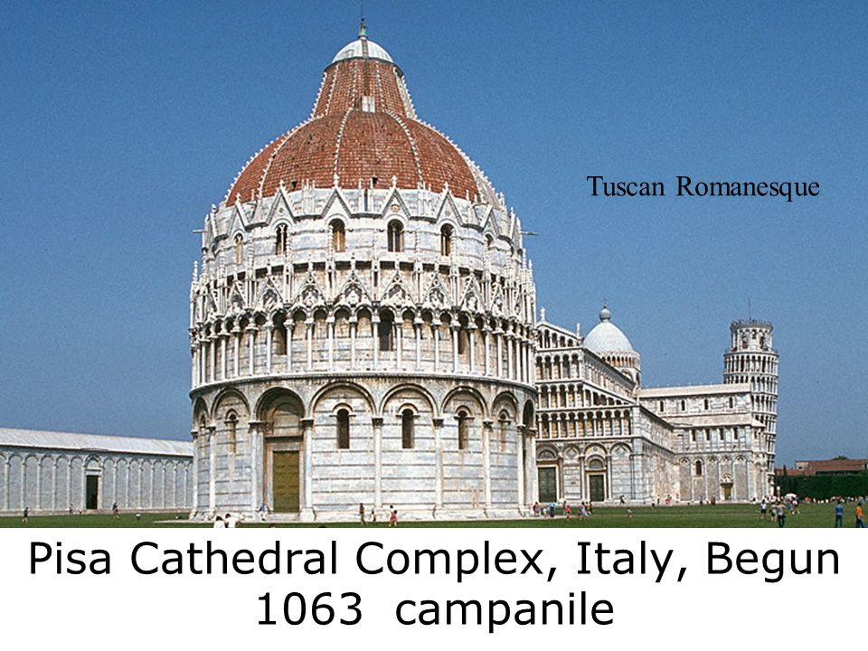 Pisa Cathedral Complex, Italy, Begun 1063 campanile Tuscan Romanesque