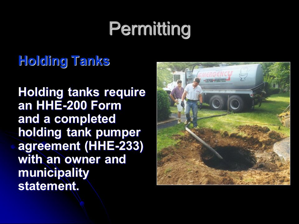 Permitting Replacement Septic Tanks If a replacement septic tank is being installed to serve an existing non-engineered disposal area, and there are n