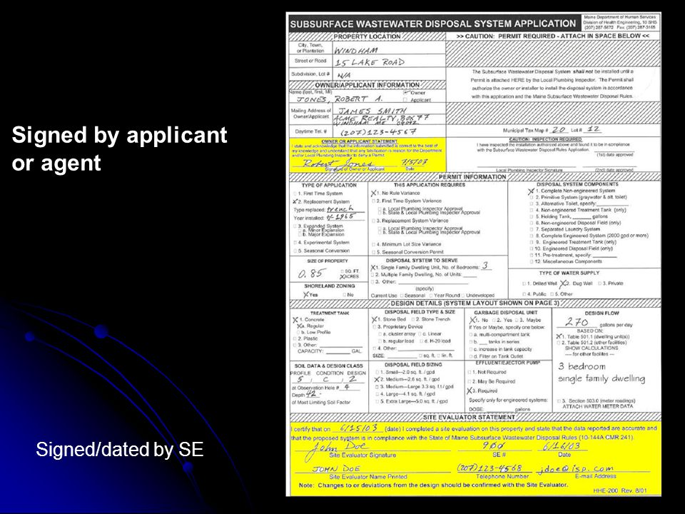 The HHE-200 Form All boxes on the first page are checked All boxes on the first page are checked Signed by applicant or agent Signed by applicant or agent 3 measurements from 2 ref.