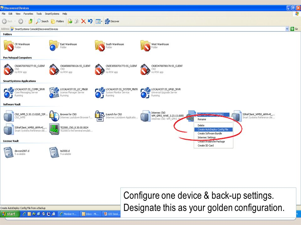 Slide 33 COMPANY CONFIDENTIAL Configure one device & back-up settings.