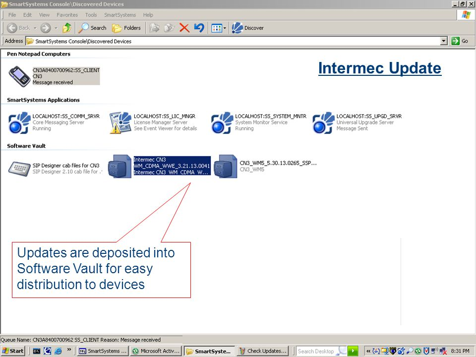Slide 53 COMPANY CONFIDENTIAL Updates are deposited into Software Vault for easy distribution to devices Intermec Update