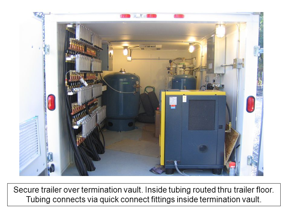 Secure trailer over termination vault. Inside tubing routed thru trailer floor.