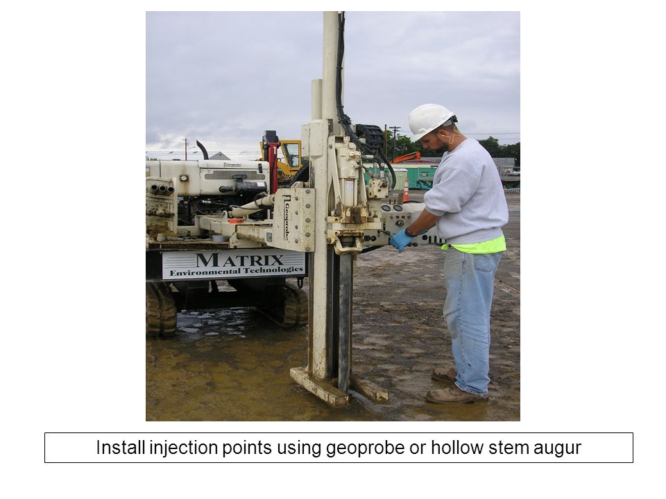Install injection points using geoprobe or hollow stem augur