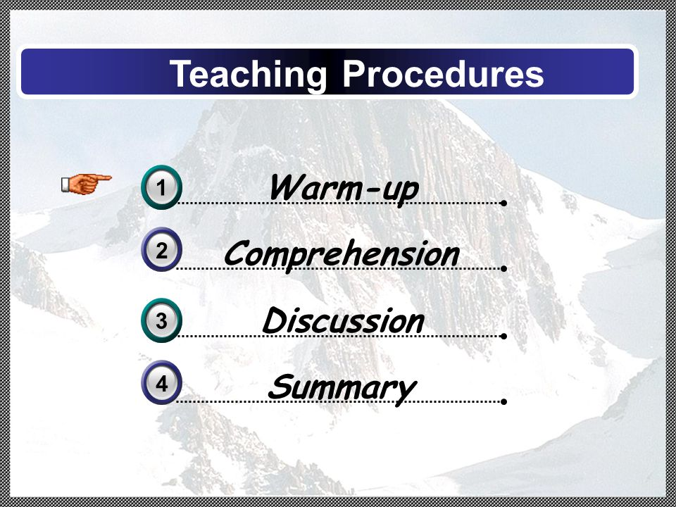 Comprehension 2 Warm-up 31 Discussion 33 Teaching Procedures Summary 4