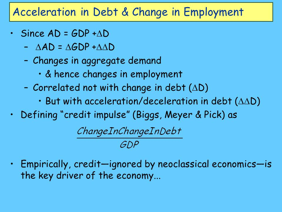 Acceleration in Debt & Change in Employment Since AD = GDP +  D –  AD =  GDP +  D –Changes in aggregate demand & hence changes in employment –Cor