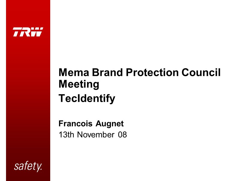 Mema Brand Protection Council Meeting TecIdentify Francois Augnet 13th November 08