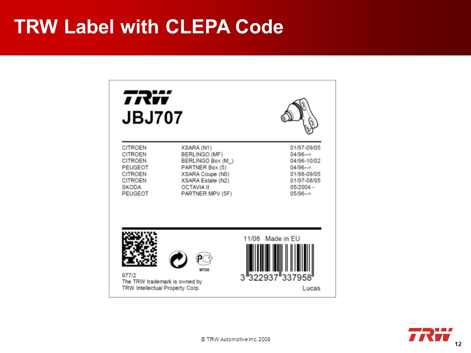 © TRW Automotive Inc. 2008 12 TRW Label with CLEPA Code