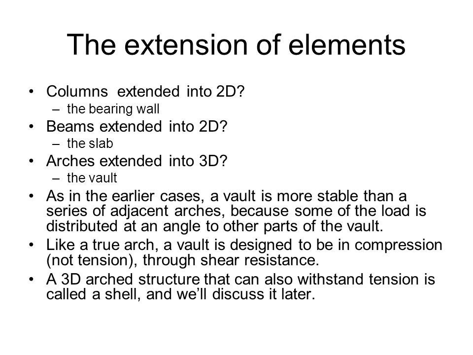 The extension of elements Columns extended into 2D.