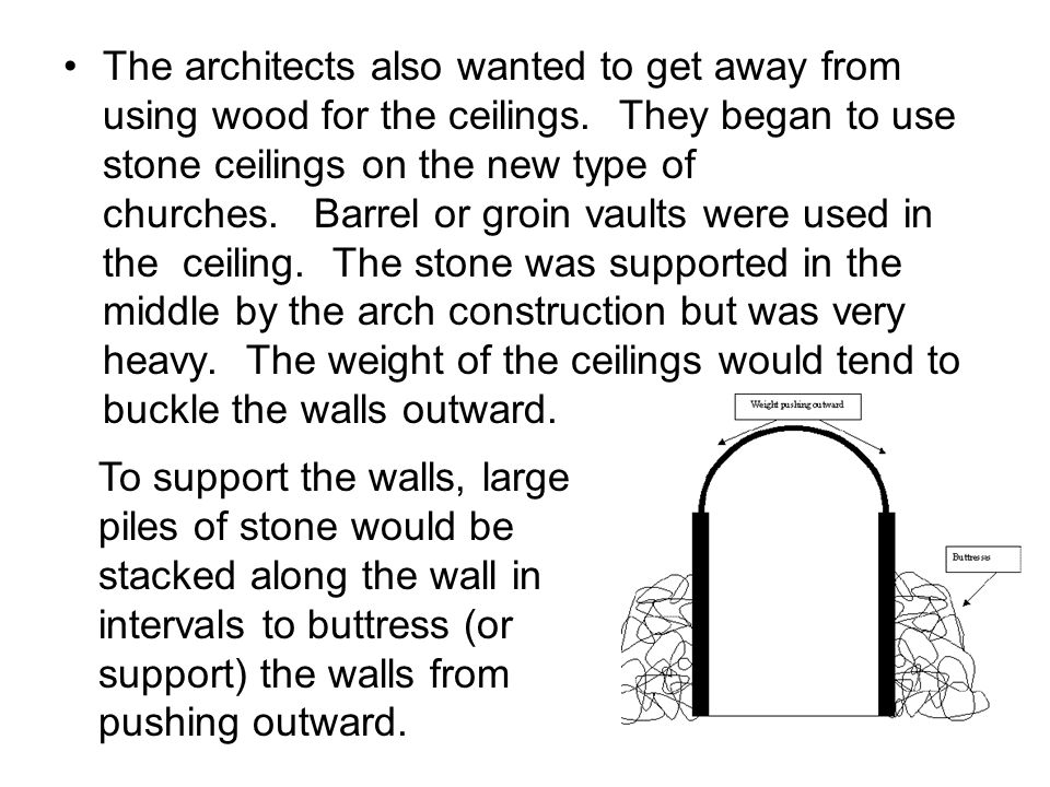 Due to the weight of the stone ceiling, the wall of the church had to be very thick.