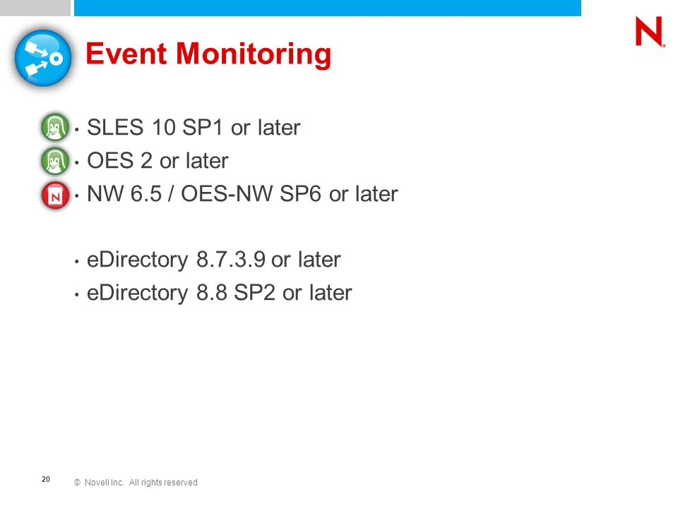 © Novell Inc. All rights reserved 20 Event Monitoring SLES 10 SP1 or later OES 2 or later NW 6.5 / OES-NW SP6 or later eDirectory 8.7.3.9 or later eDi