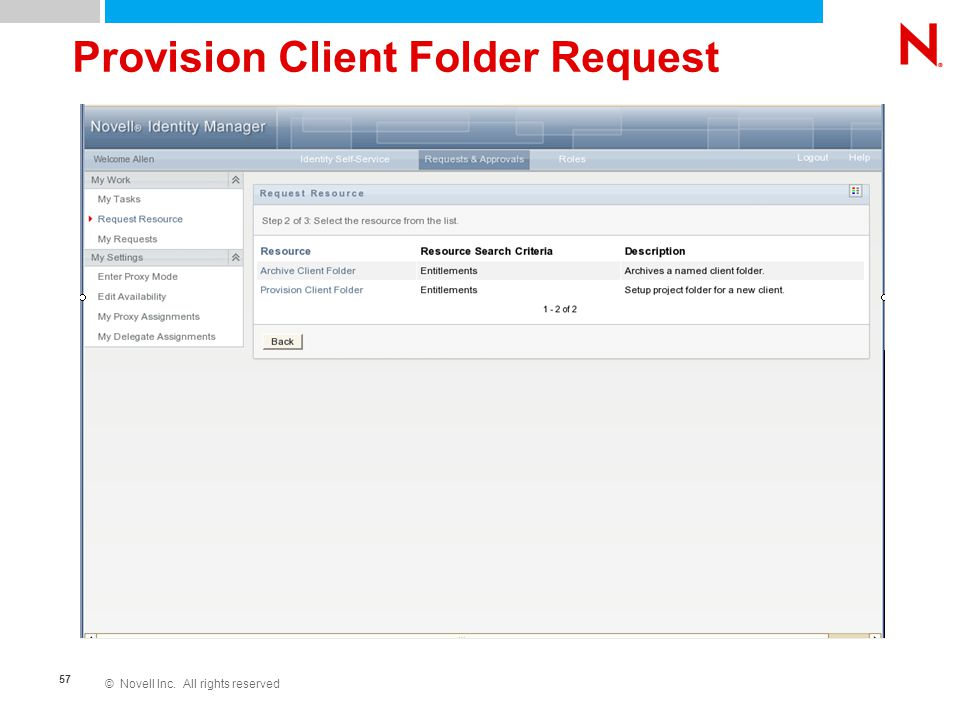 © Novell Inc. All rights reserved 57 Provision Client Folder Request