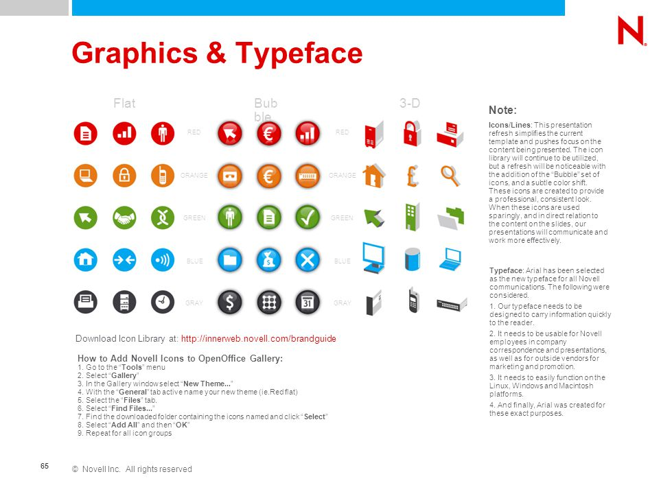 © Novell Inc. All rights reserved 65 Graphics & Typeface RED ORANGE GREEN BLUE GRAY Icons/Lines: This presentation refresh simplifies the current temp
