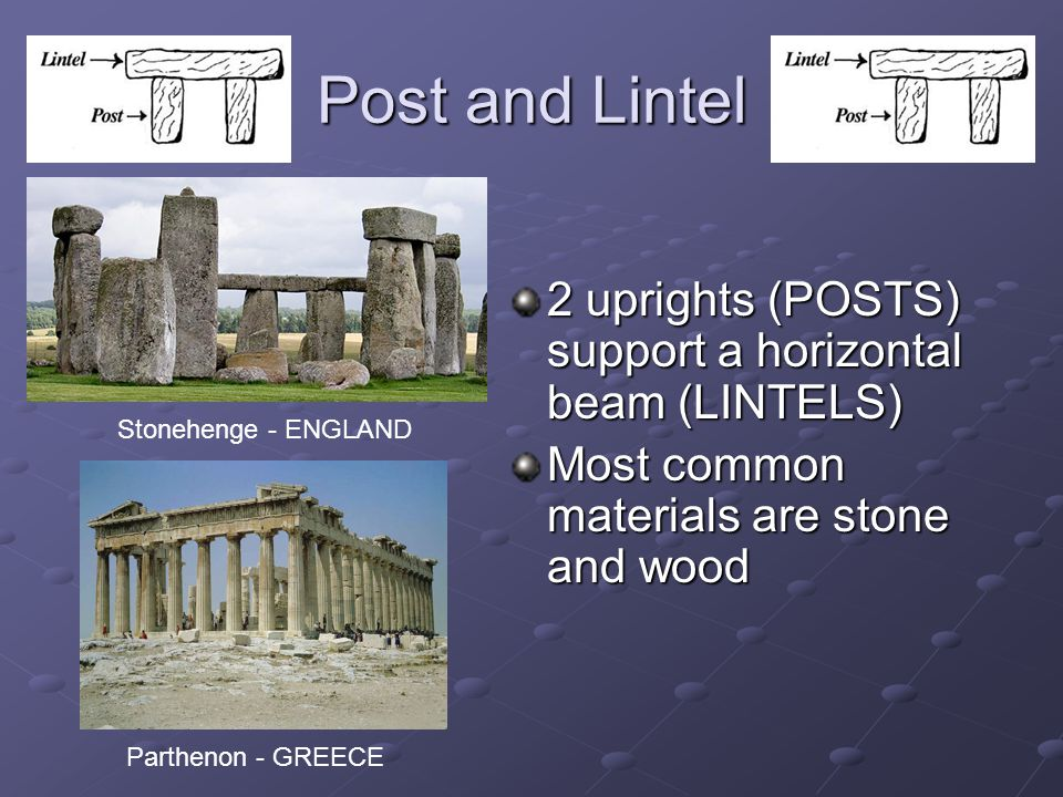 Post and Lintel 2 uprights (POSTS) support a horizontal beam (LINTELS) Most common materials are stone and wood Stonehenge - ENGLAND Parthenon - GREECE