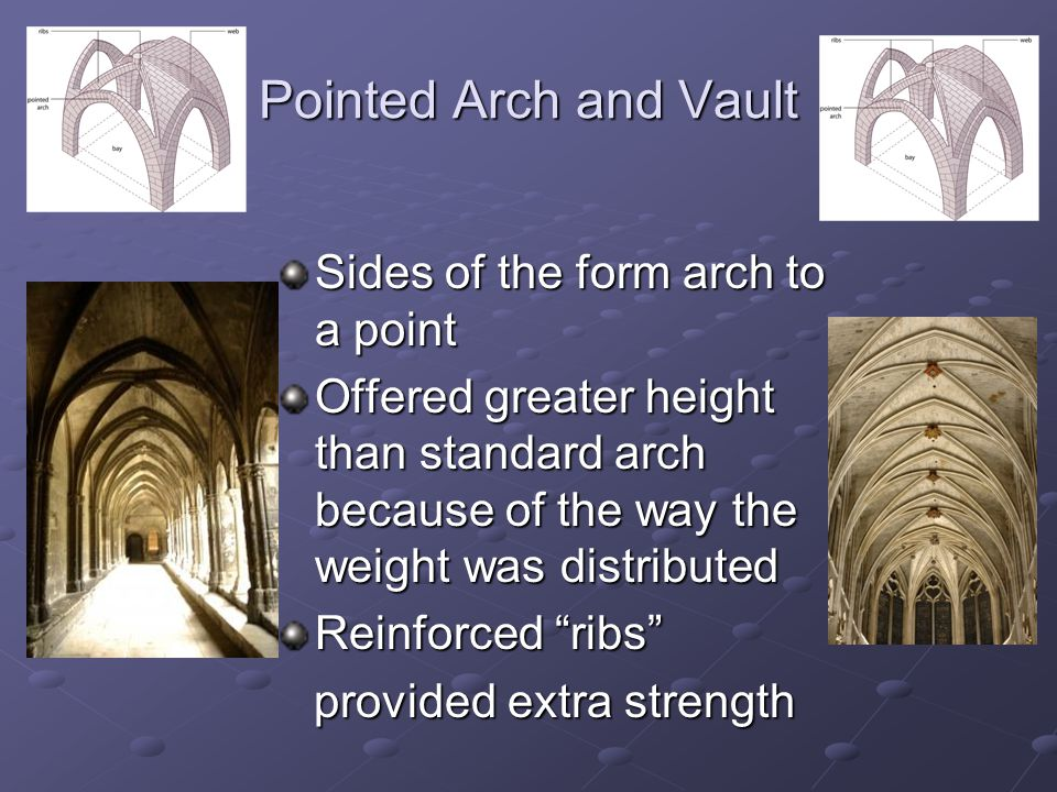 Pointed Arch and Vault Sides of the form arch to a point Offered greater height than standard arch because of the way the weight was distributed Reinforced ribs provided extra strength provided extra strength