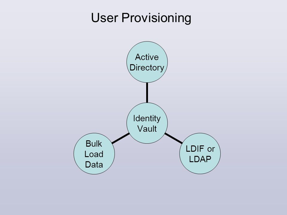 User Provisioning Identity Vault Active Directory LDIF or LDAP Bulk Load Data
