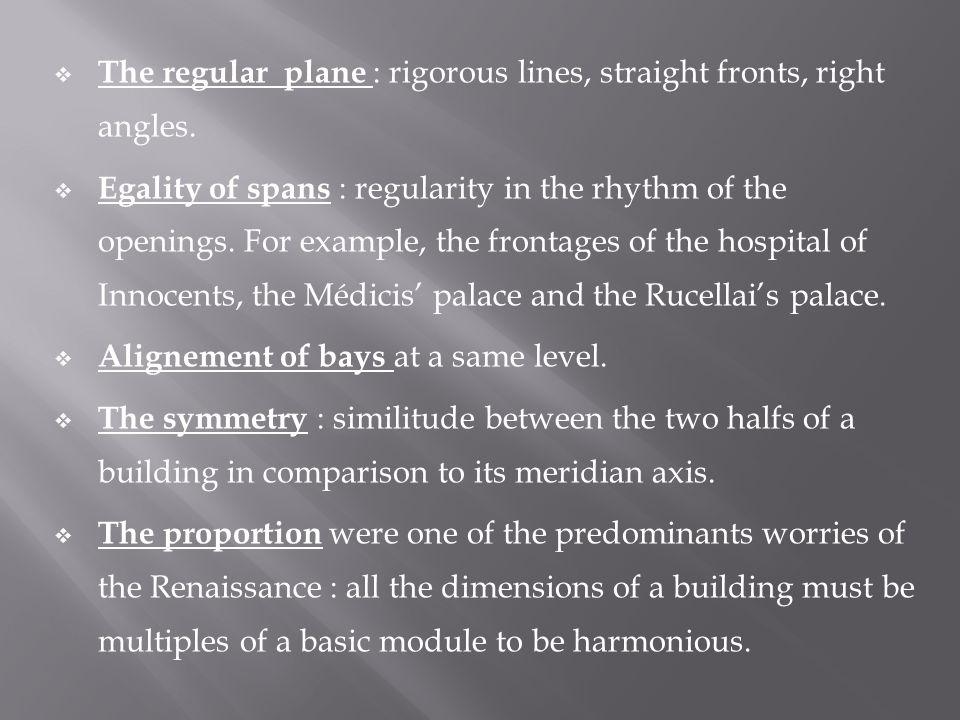  The regular plane : rigorous lines, straight fronts, right angles.