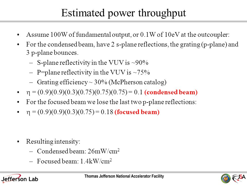 Estimated power throughput Assume 100W of fundamental output, or 0.1W of 10eV at the outcoupler: For the condensed beam, have 2 s-plane reflections, the grating (p-plane) and 3 p-plane bounces.