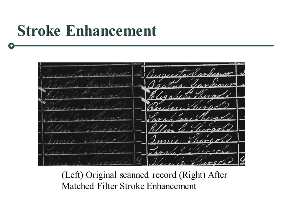 (Left) Original scanned record (Right) After Matched Filter Stroke Enhancement