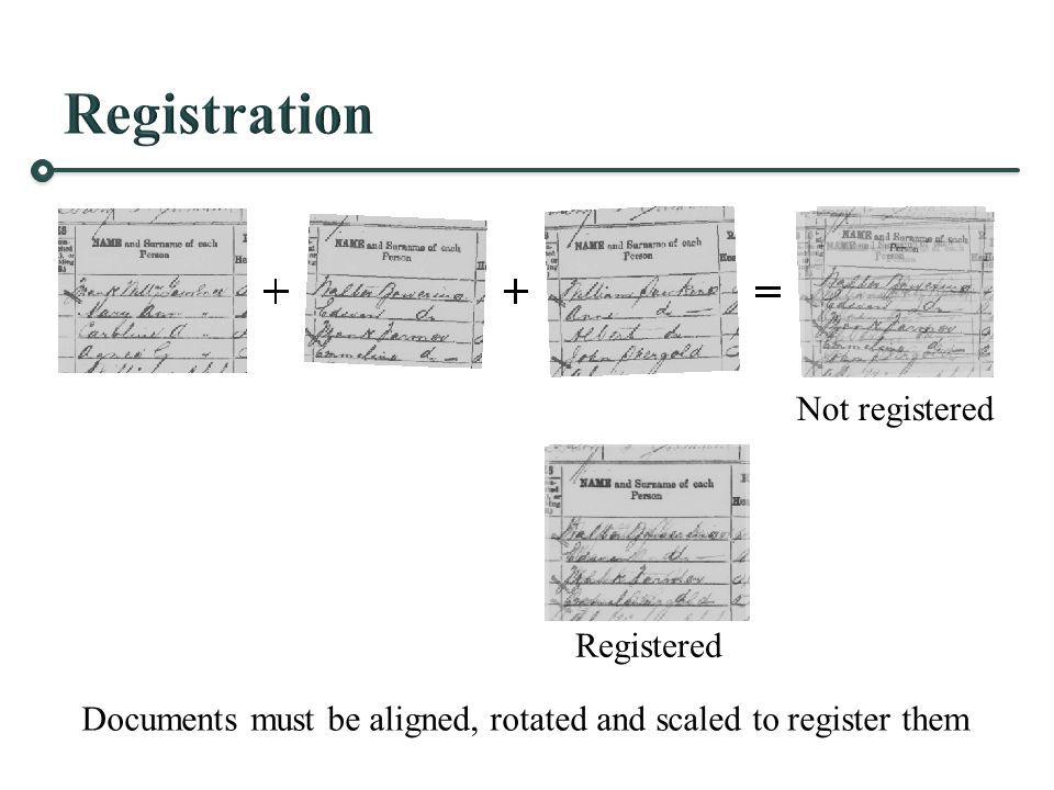 Documents must be aligned, rotated and scaled to register them Not registered Registered