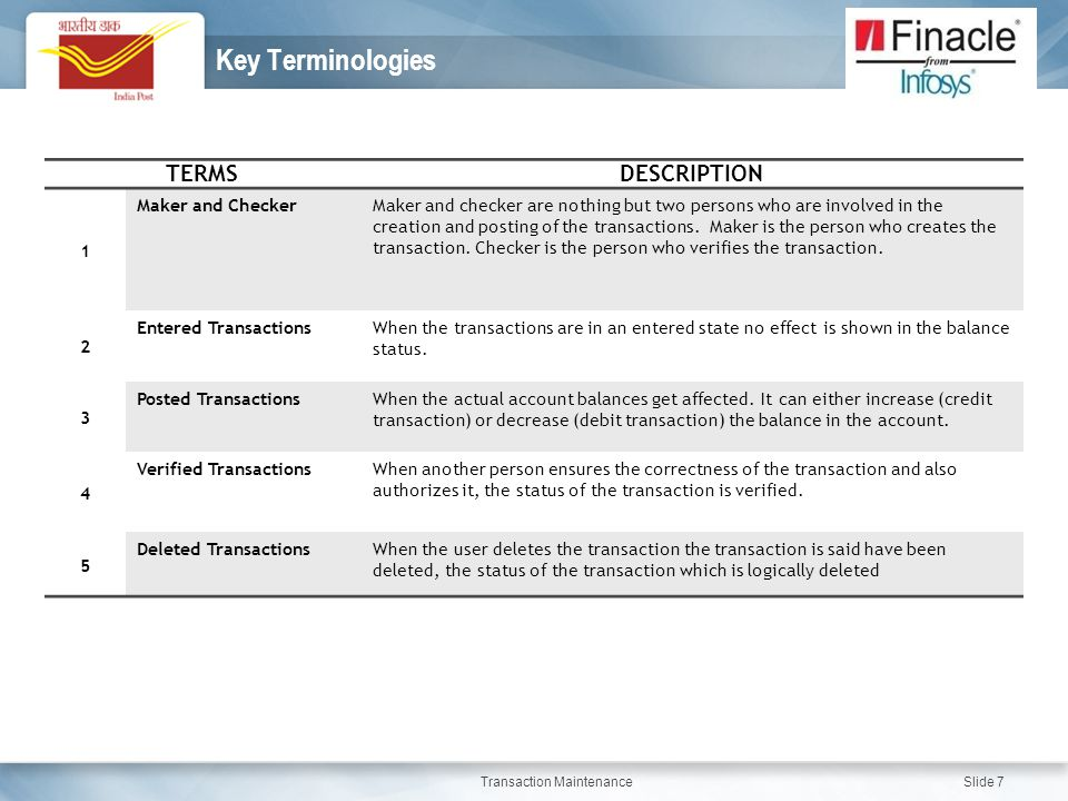 Transaction Maintenance Slide 7 Key Terminologies TERMSDESCRIPTION 1 Maker and CheckerMaker and checker are nothing but two persons who are involved i