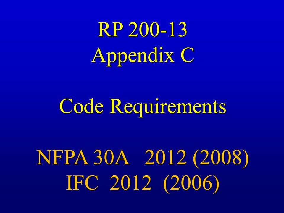 RP 200-13 Appendix C Code Requirements NFPA 30A 2012 (2008) IFC 2012 (2006)