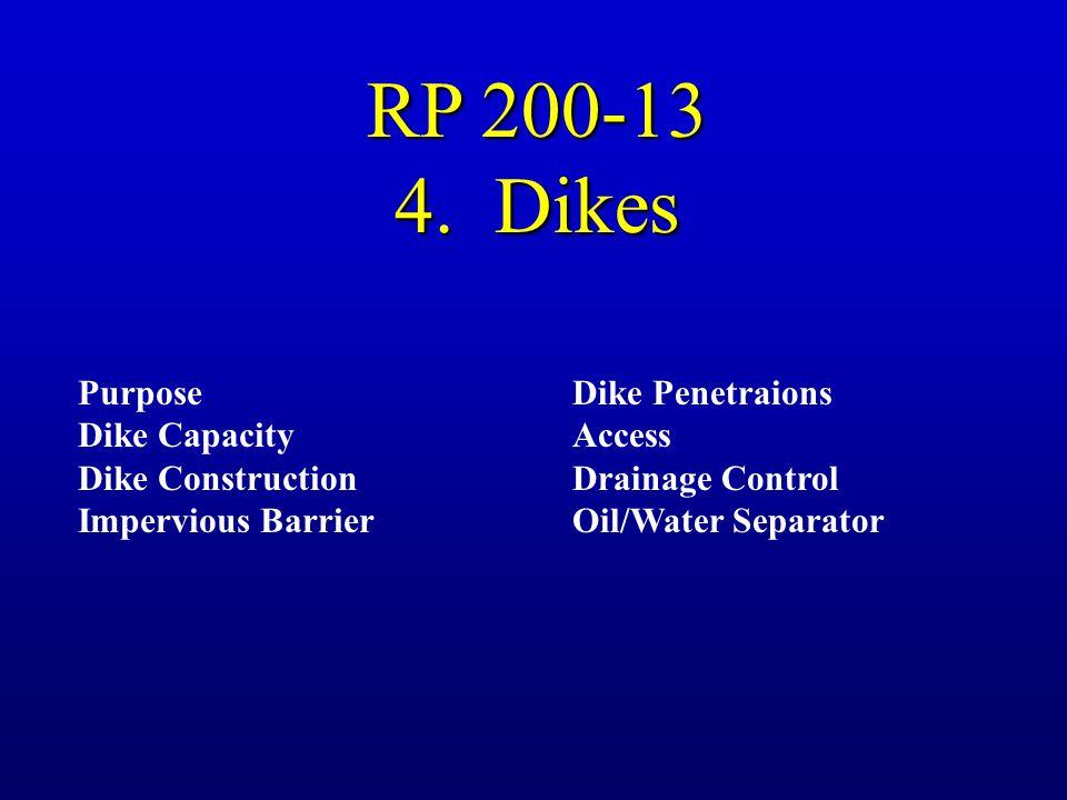 RP 200-13 4. Dikes Purpose Dike Capacity Dike Construction Impervious Barrier Dike Penetraions Access Drainage Control Oil/Water Separator