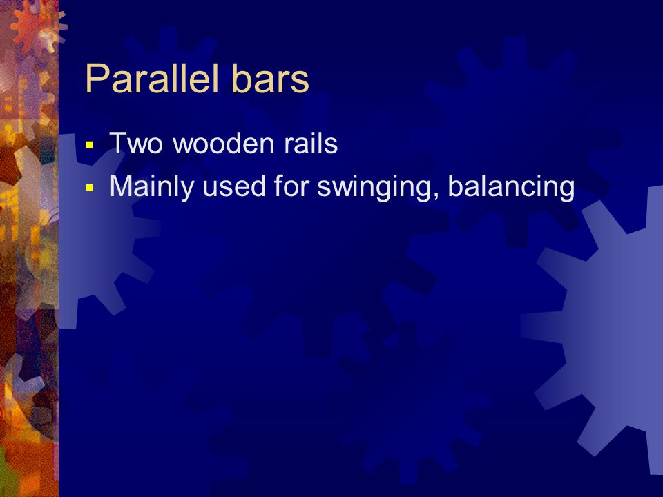 Pommel horse  A solid apparatus with two handles  115cm tall  athletes are required to perform some movements with changing hand placements without falling in the ground