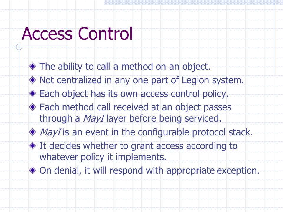 Access Control The ability to call a method on an object.